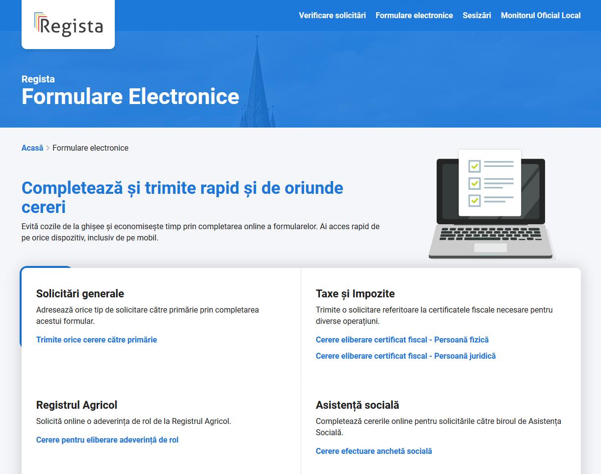 Formulare electronice Regista